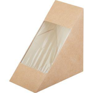 Posuda papirnata za sendvić ECO SANDWICH 70 130x130x70 mm sa prozorom, Kraft