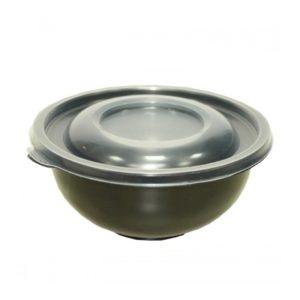 Posuda za supu sa poklopcem PP 450 ml d=150 mm h=63 mm crna, 480 kom (komplet)