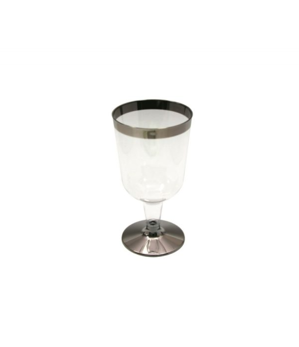 Čaša  za vino PS 180 ml providna sa srebrnom prugom Tambien, 6 kom/pak