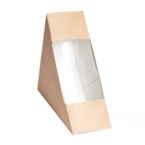 Kartonska kutija za sendvić sa prozorom ECO Sandwich 130x130x40 mm kraft (50 kom/pak)