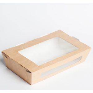Kartonska kutija sa prozorom ECO salad 600 ml 150x115x50mm kraft (500 kom/pak)