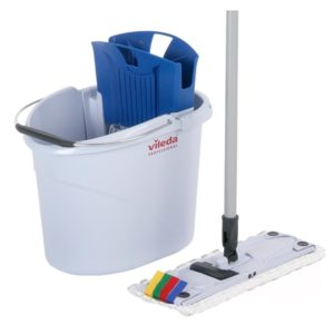 "Set za pranje podova ""Vileda"" UltraSpeed Mini (kanta 10L sa cediljkom/Drška za brisač poda za mokro brisanje 34cm/Brisač poda MicroLight Mini/Drška) plavi (001с/143566)"