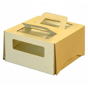 Kutija za tortu sa ručkom 210х210х110 s prozorom za 1kg (poklopac) (20 kom/pak)