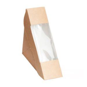 Posuda za sendvić papirnata sa prozorčićem ECO SANDWICH 50 130х130х50 mm, kraft (600 kom/pak)