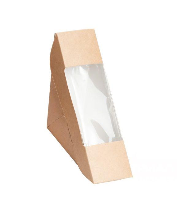 Kartonska kutija za sendvić sa prozorom ECO Sanswich 130х130х50 mm kraft (600 kom/pak)
