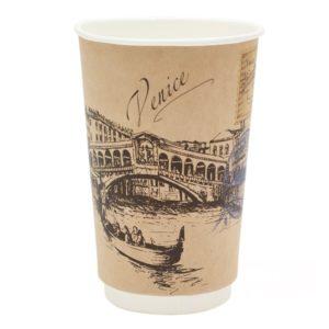 Čaša papirnata dvoslojna 400 (518) ml d=90mm Gradovi sveta, kraft