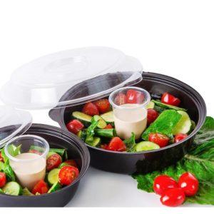 Posuda za salatu sa sos brodom PS 850ml, crna (400 kom/pak)