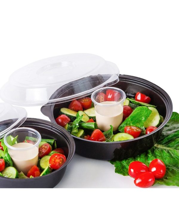 Posuda PS za salatu КD-106 850ml, crna (dno sa čašom za sos 80ml) (400 kom/pak)