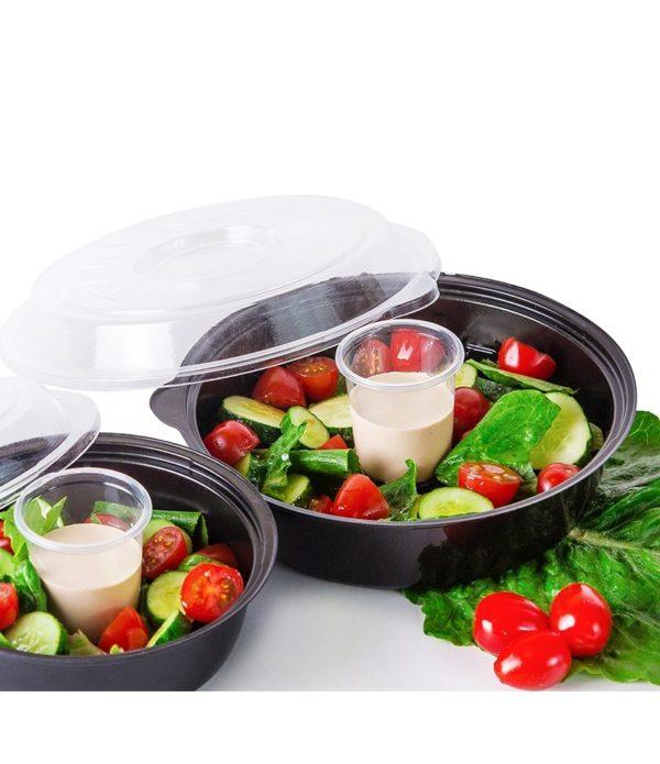 Posuda za salatu sa poklopcem PS 850 ml 220х148х40 mm crna, 400 kom (komplet)