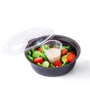 Posuda za salatu sa poklopcem PS 450 ml d=160 mm crna, 400 kom (komplet)