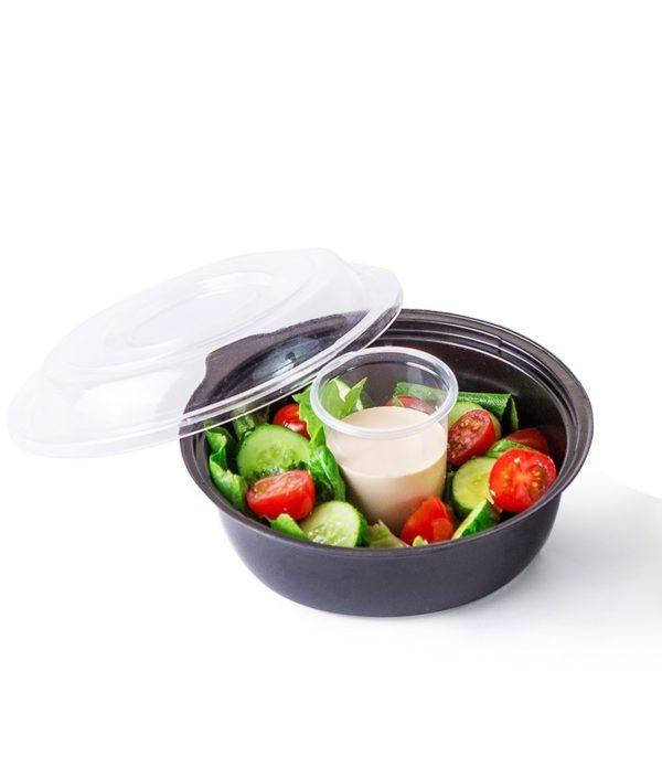 Posuda PS za salatu КD-110 450ml, crna (dno sa čašom za sos 80ml) (400 kom/pak)