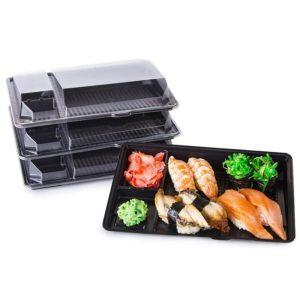 Posuda za sushi sa poklopcem PS 201x125x36 mm crna, 540 kom (komplet)
