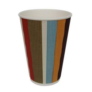 Čaša papirnata troslojna 410 (510) ml d=90mm valovita, raznobojne pruge