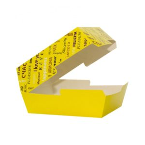 Kutija za hamburger Fiesta 118х117х71mm, žuta (50 kom/pak)