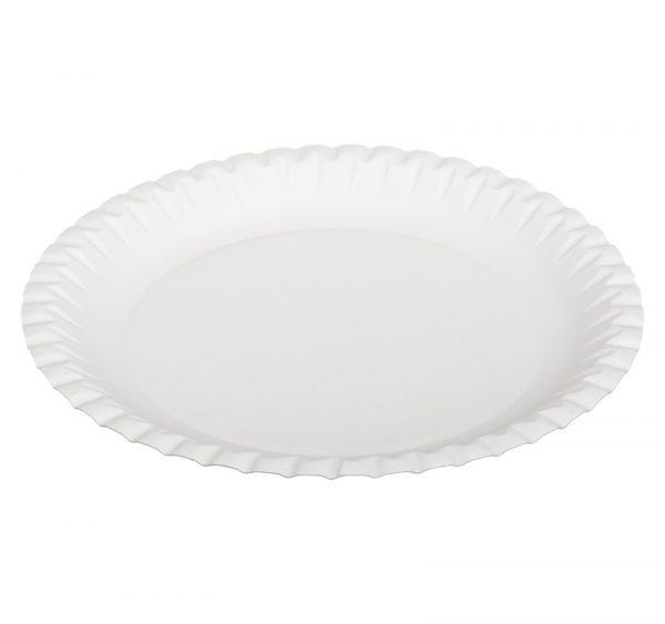 Tanjir kartonski d=230 mm bijeli valoviti, glaziran (100 kom/pak)
