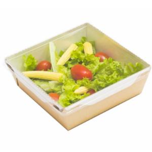 Posuda papirnata za salate i topla jela sa providnim poklopcem ECO OPSalad 150х150х50mm 900 ml, kraft (150 kom/pak)