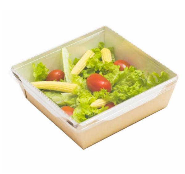 Kartonska posuda za salate i topla jela sa providnim poklopcem ECO OpSalad 900 ml 150х150х50 mm kraft (50 kom/pak)