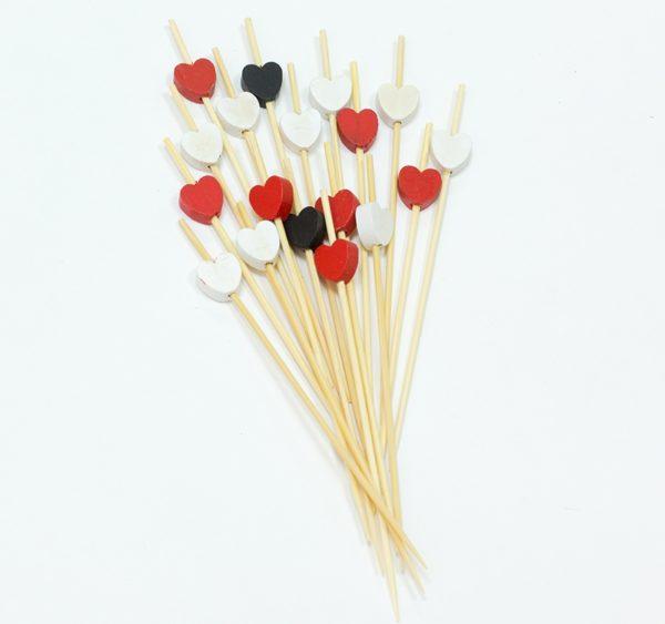 Štapić drveni za kanapee Srce crveno, crno, belo 12 сm 100 kom/pak
