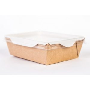 Papirnata posodica s prozornim pokrovom za solato in tople jedi ECO OpSalad 200х140х55mm 1000 ml, кraft