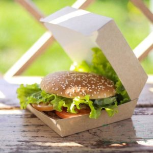 Škatla za hamburgerje 150х150х65 mm, кraft