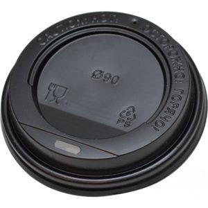 Pokrov s stransko luknjo, d=90 mm črn PS