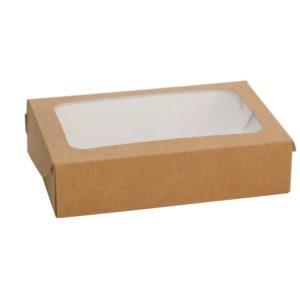 Papirnata posodica z oknom Unibox1000 200x120x45 mm 1000 мl, кraft