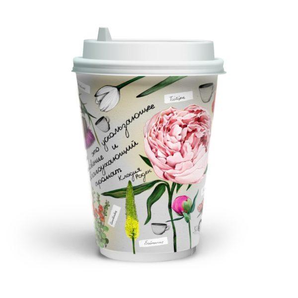 Papirna čaša 2-sl 400 ml d=90 mm fleur de café (16 kom/pak)