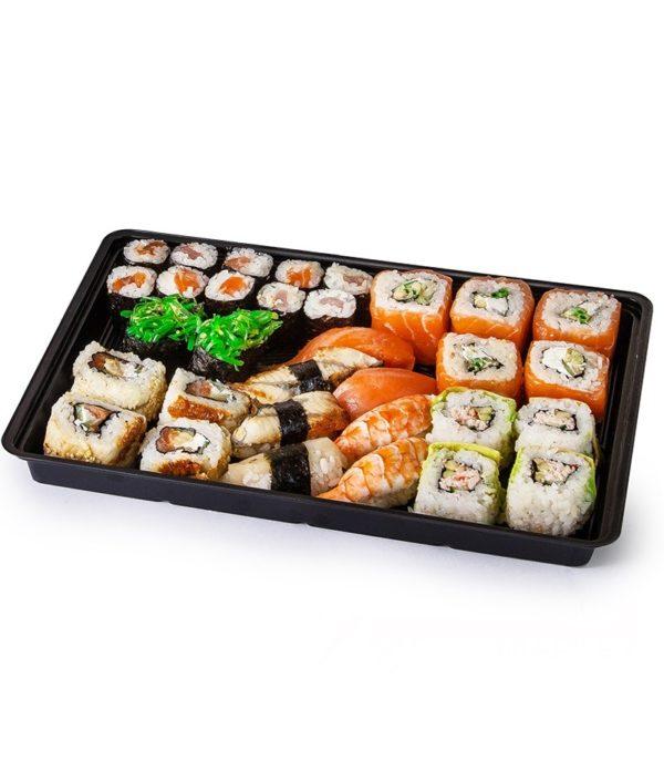 Posuda za sushi sa poklopcem KD-004 295x205x43mm, crna, PS, 200 kom (komplet)