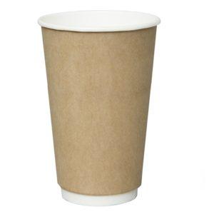 Čaša papirnata 400 ml dvoslojna, d=90 mm kraft (18 kom/pak)
