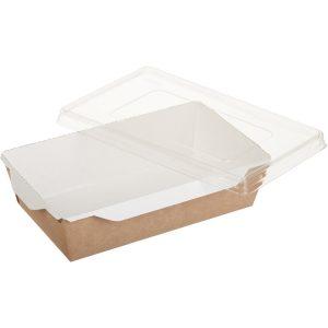 Posuda papirnata za salatu i topla jela sa providnim poklopcem ECO OPSalad 186х106х55 mm 800 ml kraft (150 kom/pak)