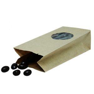 Papirna kesa pravougaone dno 170х80х50 mm kraft prozor okrugli 5 (600 kom/pak)