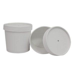 Posuda papirnata za supu d-95mm, h-82mm, 345 ml dupli poklopac, bela (336 kom/pak)