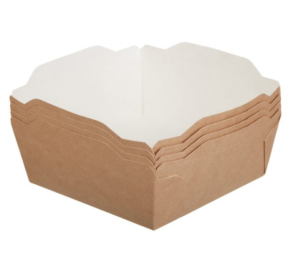 Kartonska kutija sa providnim poklopcem ECO OpSalad 1200 ml 165x165x65 mm kraft (150 kom/pak)