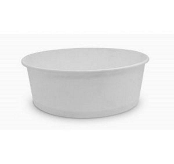 Papirnata posuda sa poklopcem, 750 ml, d = 150 mm, h = 60 mm, bijela, za salatu, 100 kom (komplet)