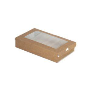 Posuda papirnata ECO CASE 300 pravougaona sa prozorom 240ml 100x80x30 mm, Kraft