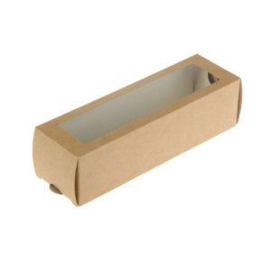 """Kartonska kutija sa prozorom za deserte """"Makaron"""" 180x55x55 mm kraft (500 kom/pak)"""