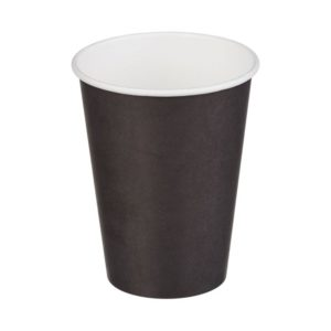 Čaša papirnata jednoslojna 370 (420) ml d=90mm za topla pića, crna (50 kom/pak)