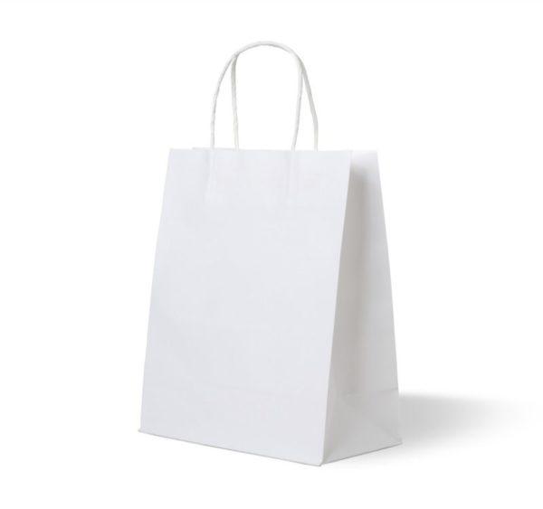 Papirna kesa sa uvijenim ručkama 320x180x370 mm bijela (250 kom/pak)