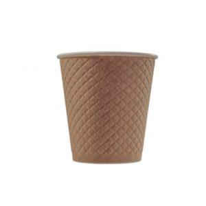 Čaša papirnata dvoslojna 220 (280) ml d = 80 mm reljef Waffle, kraft (25 kom/pak)