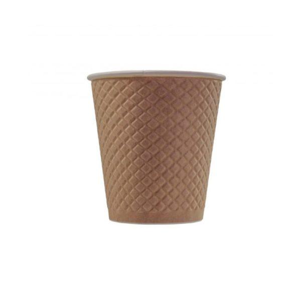 Papirna čaša 2-sl 220 ml d=80 mm Waffle kraft (25 kom/pak)