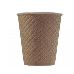 Čaša papirnata dvoslojna 300 (430) ml d = 90 mm reljef Waffle, kraft (25 kom/pak)