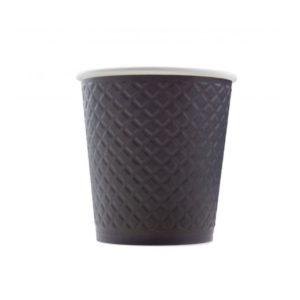 Čaša papirnata dvoslojna 220 (280) ml d = 80 mm reljef Waffle, crna (25 kom/pak)