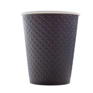 Čaša papirnata dvoslojna 300 (430) ml d = 90 mm reljef Waffle, crna (25 kom/pak)