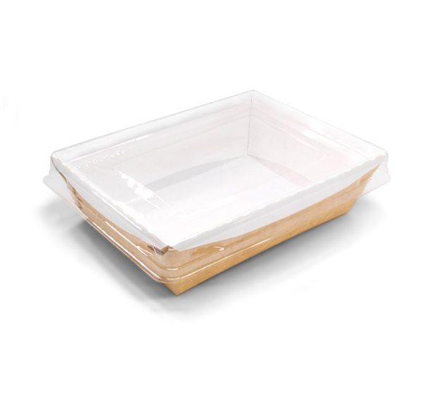 Kartonska kutija sa providnim poklopcem Crysatal Box 500 ml 160x120x45 mm kraft (200 kom/pak)