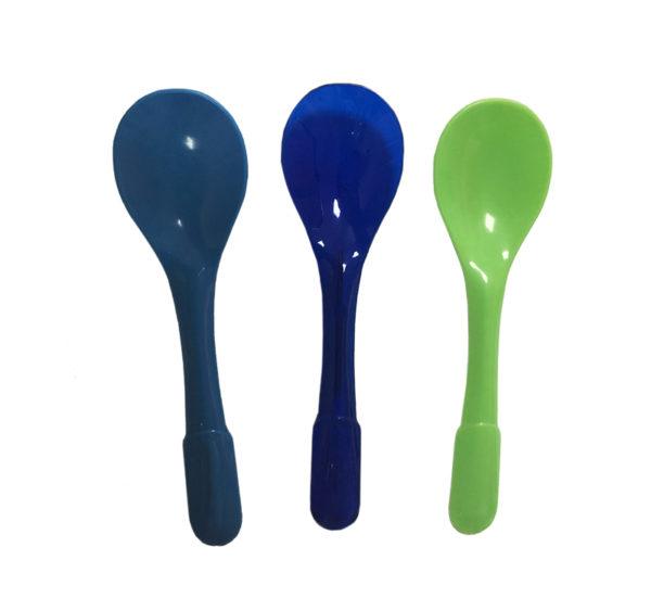 Plastična desertna kašičica 9,4cm v ind. pakovanju, svetlo zelena, plava, roza, teget, žuta