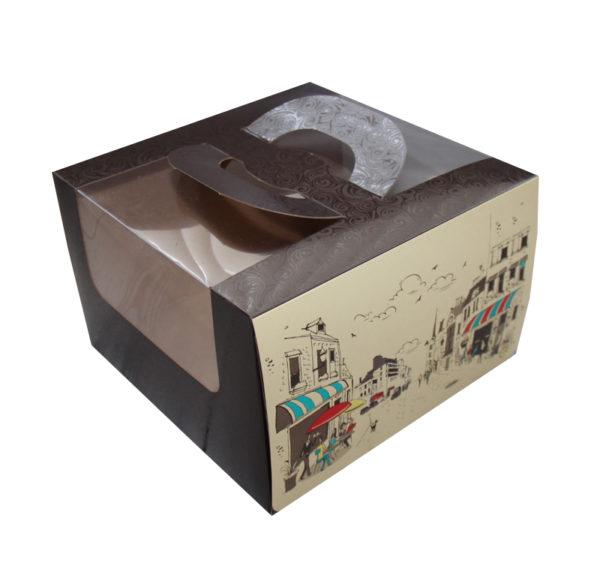 Kutija za tortu 230х220х120mm 1 kg Randevu s prozorom, s ručkom (5 kom/pak)