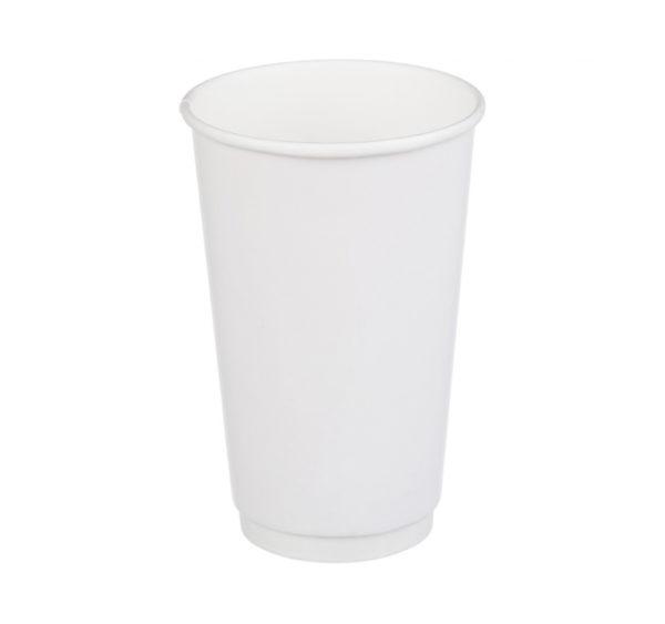 Čaša papirnata dvoslojna 400 (518)ml d=90 mm za topla pića bela (18 kom/pak)