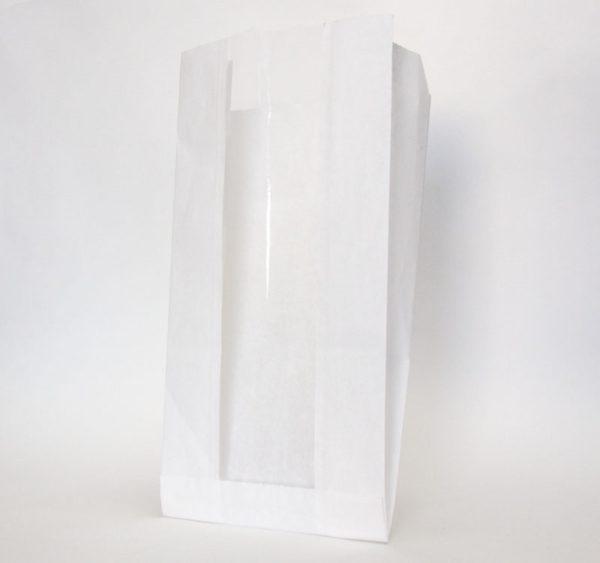 Papirna kesa sa prozorom 130(50)х100х300 mm bijela (1500 kom/pak)