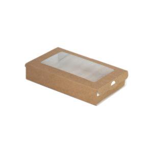 Posuda papirnata ECO CASE 300 pravougaona sa prozorom 240ml 100x80x30 mm, Kraft (800 kom/pak)