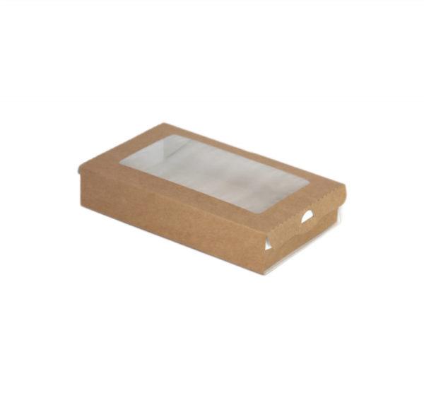 Kartonska kutija pravougaona sa prozorom  ECO Case 240 ml 100x80x30 mm kraft (800 kom/pak)